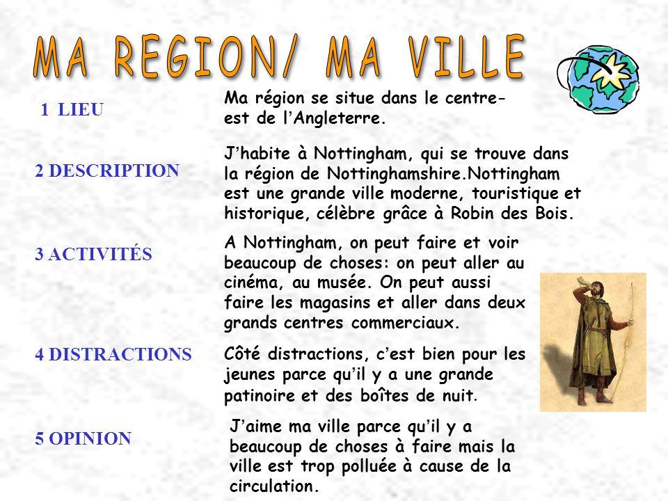 MA REGION/ MA VILLE 1 LIEU 2 DESCRIPTION 3 ACTIVITÉS 4 DISTRACTIONS