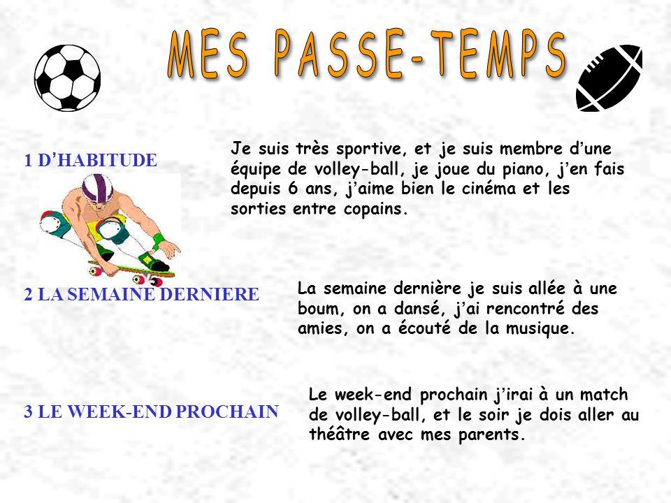 MES PASSE-TEMPS 1 D'HABITUDE 2 LA SEMAINE DERNIERE