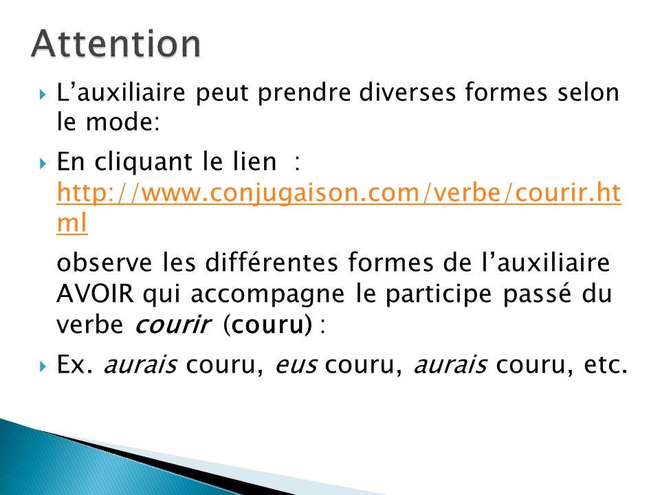 Attention L'auxiliaire peut prendre diverses formes selon le mode: En cliquant le lien : http://www.conjugaison.com/verbe/courir.ht ml.