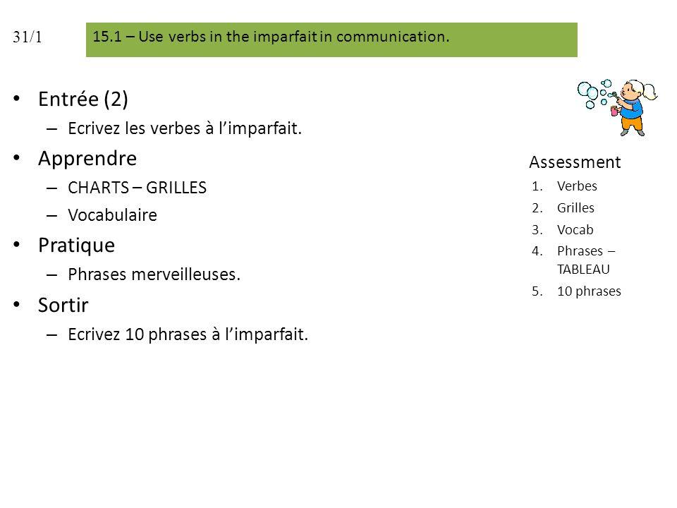 Entrée (2) Apprendre Pratique Sortir Ecrivez les verbes à l'imparfait.
