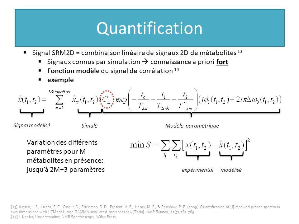 Quantification Signal SRM2D = combinaison linéaire de signaux 2D de métabolites 13. Signaux connus par simulation  connaissance à priori fort.