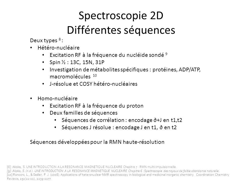Spectroscopie 2D Différentes séquences