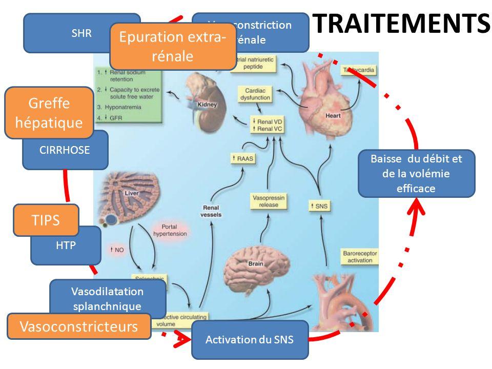 TRAITEMENTS Epuration extra-rénale Greffe hépatique TIPS