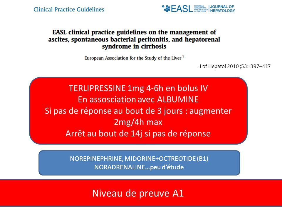 Niveau de preuve A1 TERLIPRESSINE 1mg 4-6h en bolus IV