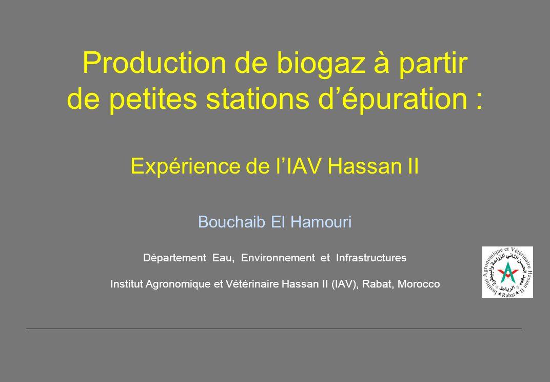 Production de biogaz à partir de petites stations d'épuration : Expérience de l'IAV Hassan II Bouchaib El Hamouri Département Eau, Environnement et Infrastructures Institut Agronomique et Vétérinaire Hassan II (IAV), Rabat, Morocco