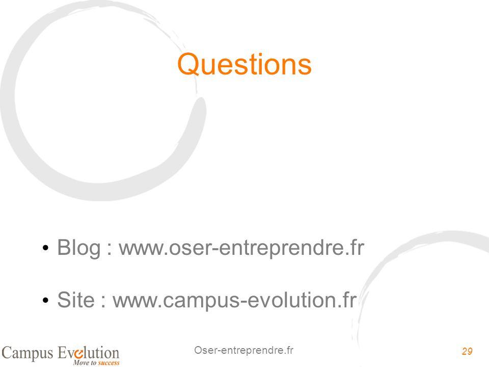 Questions Blog : www.oser-entreprendre.fr