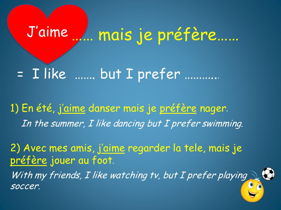 …… mais je préfère…… J'aime = I like ……. but I prefer ………...