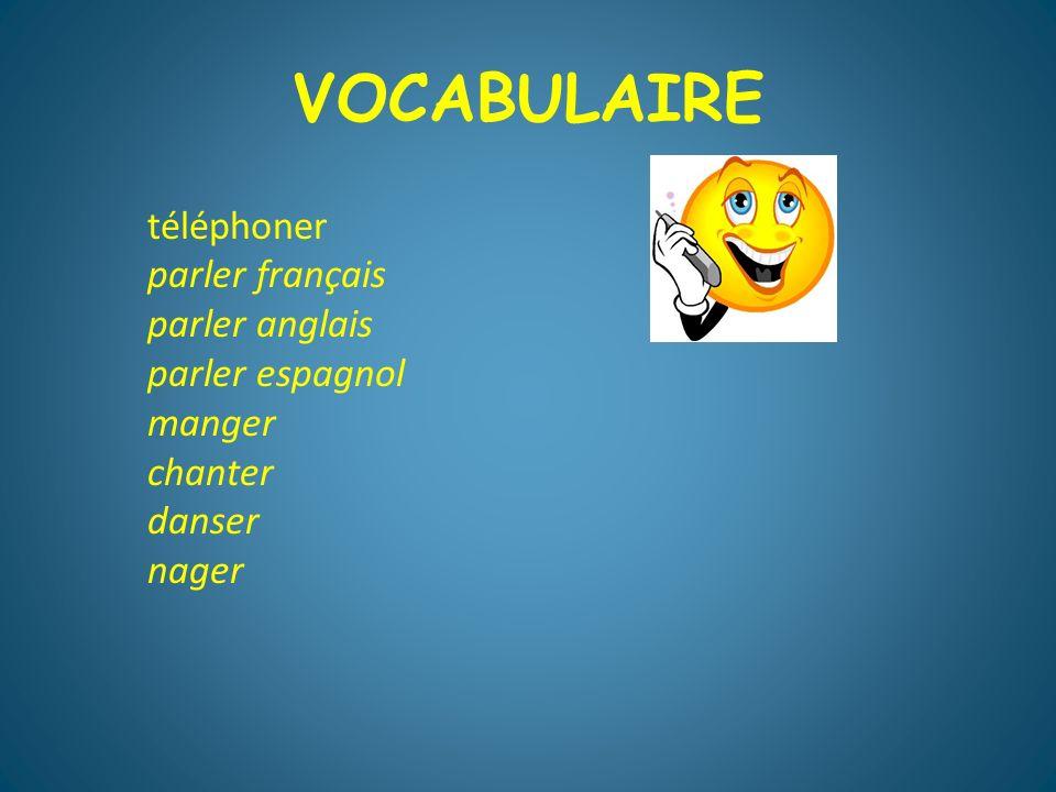 VOCABULAIRE téléphoner parler français parler anglais parler espagnol
