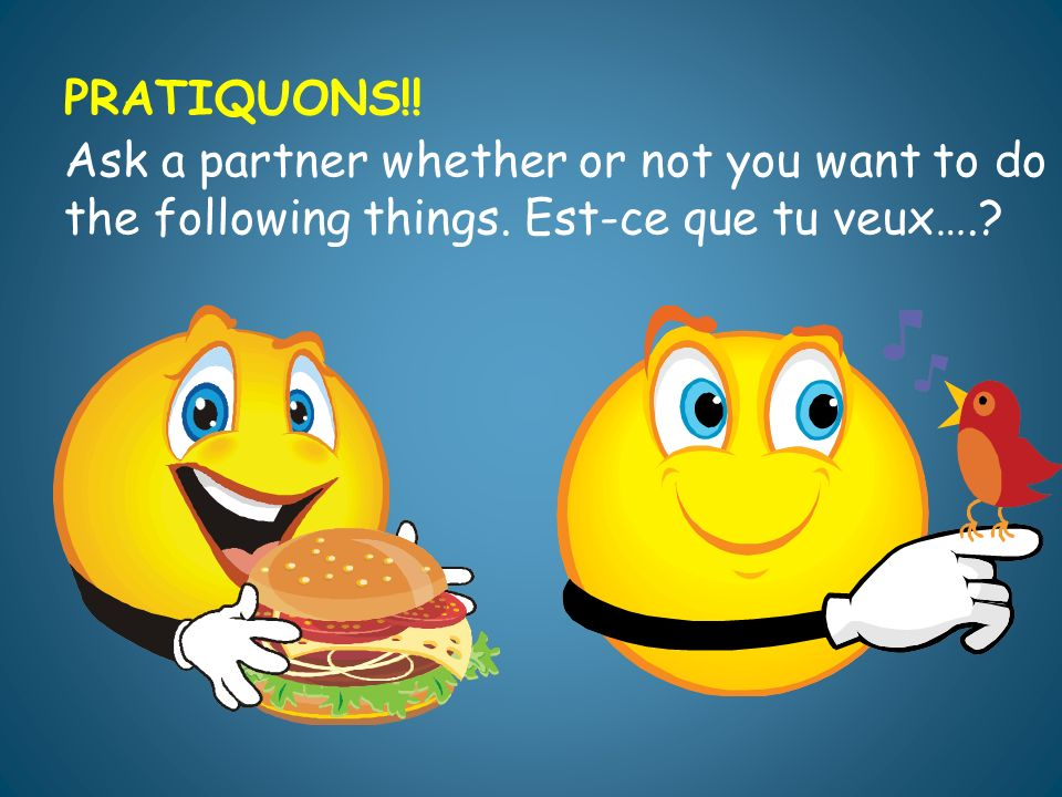 PRATIQUONS!. Ask a partner whether or not you want to do the following things.