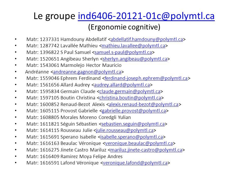 Le groupe ind6406-20121-01c@polymtl.ca (Ergonomie cognitive)