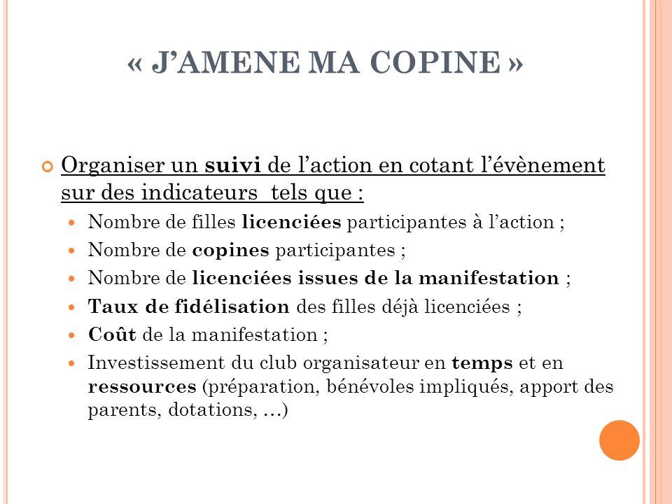 « J'AMENE MA COPINE » Organiser un suivi de l'action en cotant l'évènement sur des indicateurs tels que :