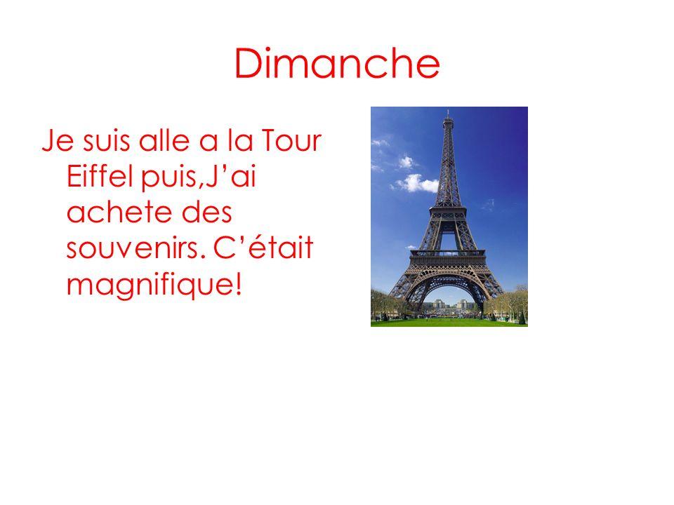 Dimanche Je suis alle a la Tour Eiffel puis,J'ai achete des souvenirs. C'était magnifique!