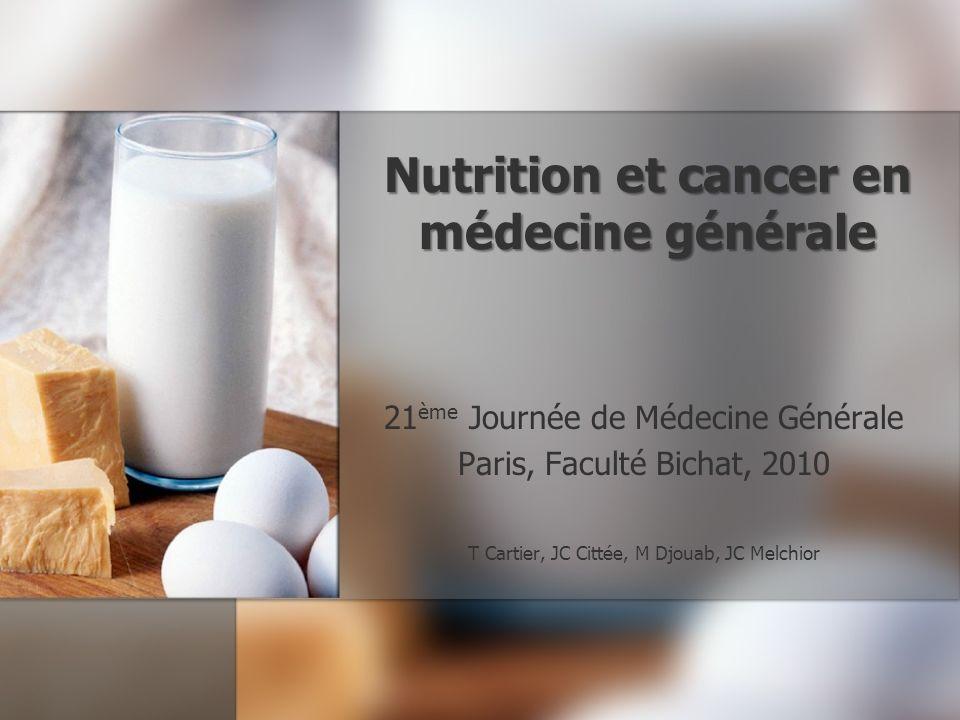 Nutrition et cancer en médecine générale