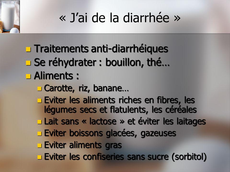 « J'ai de la diarrhée » Traitements anti-diarrhéiques
