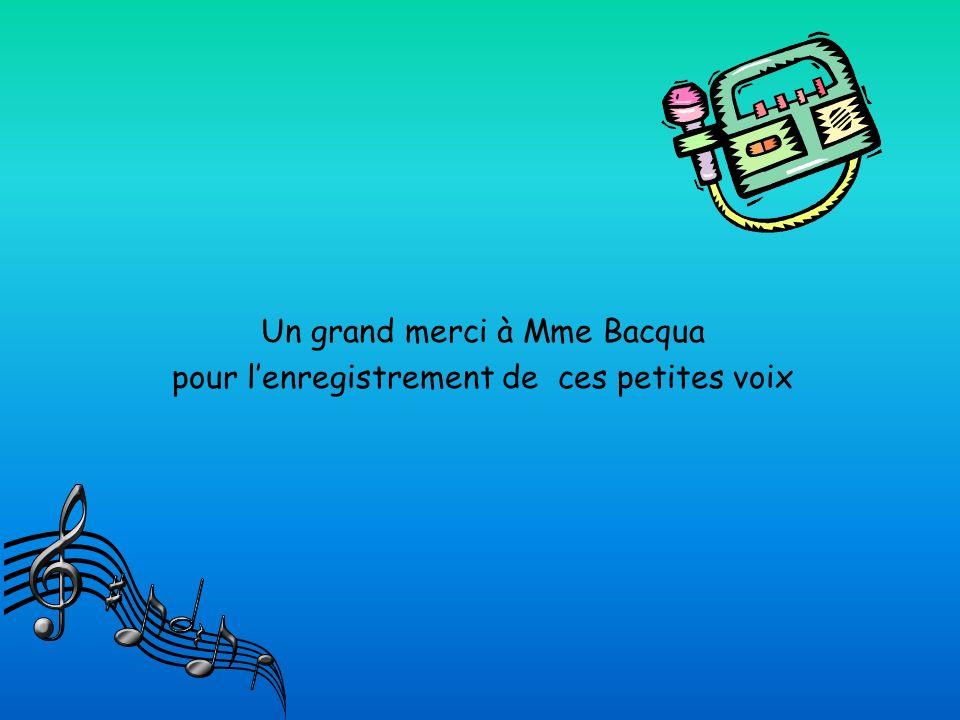 Un grand merci à Mme Bacqua pour l'enregistrement de ces petites voix