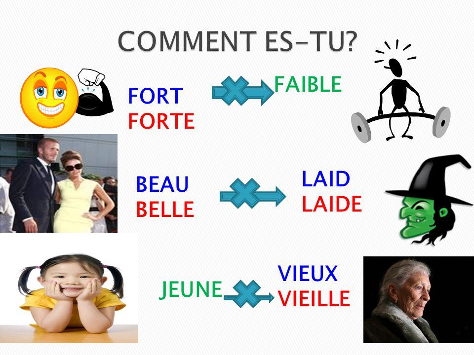 COMMENT ES-TU FAIBLE FORT FORTE BEAU BELLE LAID LAIDE VIEUX VIEILLE