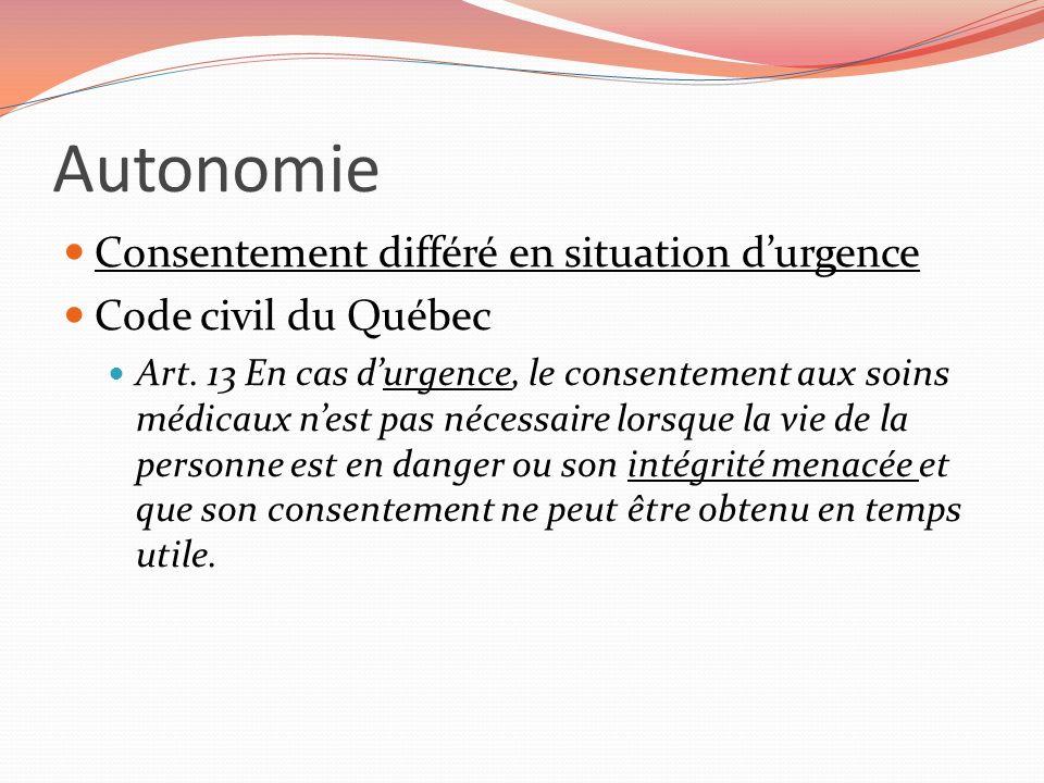 Autonomie Consentement différé en situation d'urgence