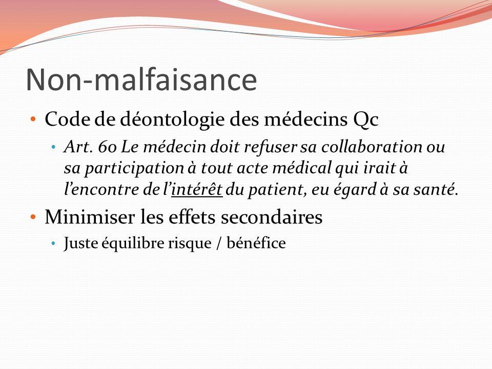 Non-malfaisance Code de déontologie des médecins Qc