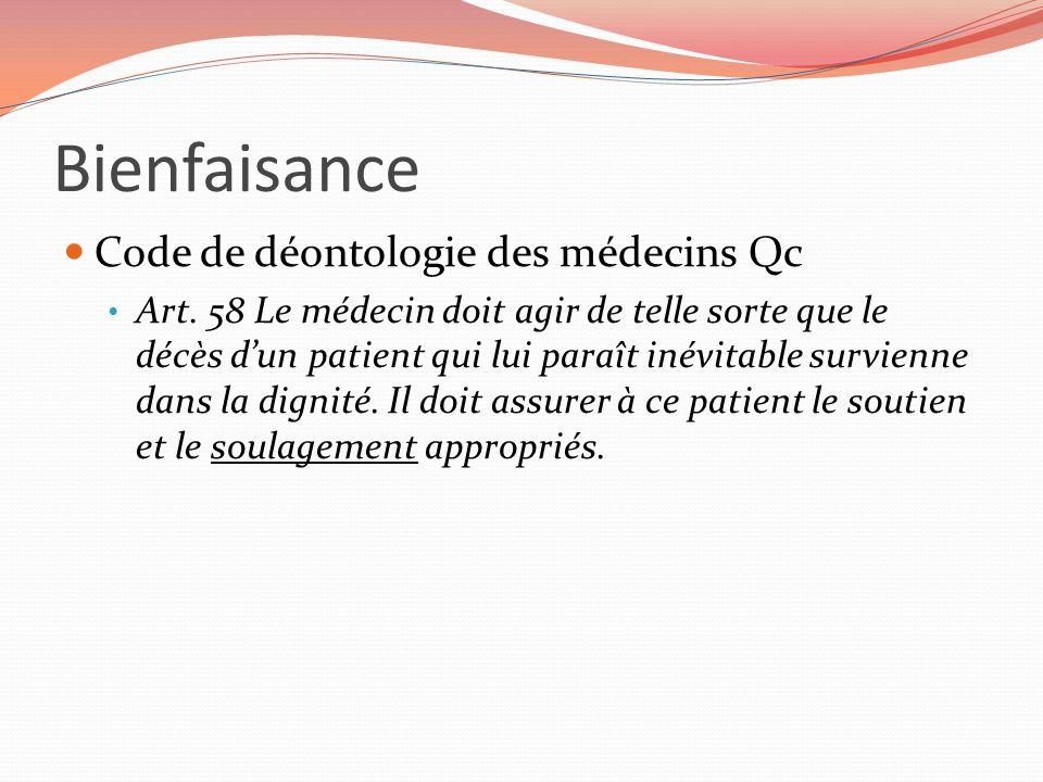 Bienfaisance Code de déontologie des médecins Qc