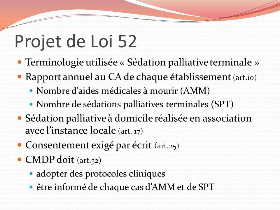 Projet de Loi 52 Terminologie utilisée « Sédation palliative terminale » Rapport annuel au CA de chaque établissement (art.10)