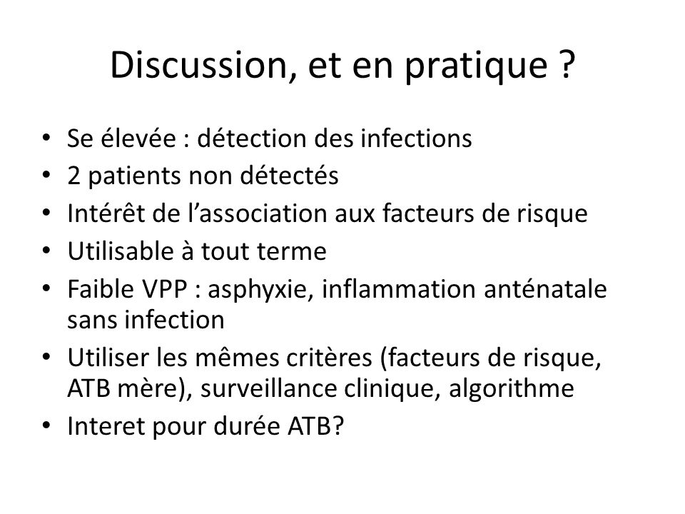 Discussion, et en pratique