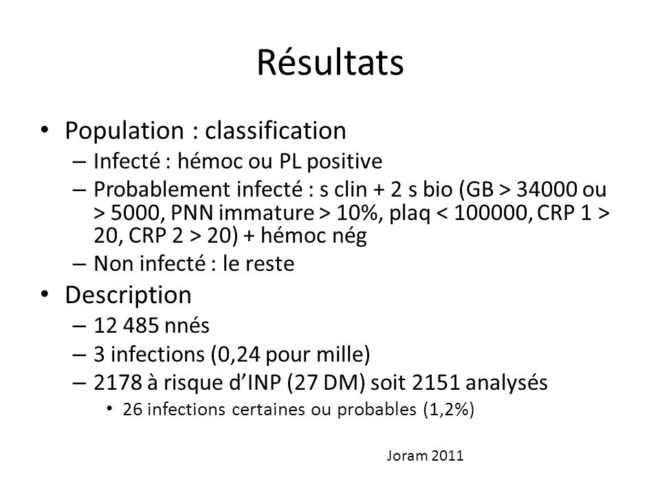 Résultats Population : classification Description