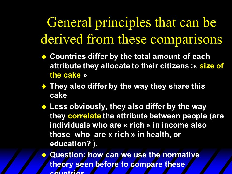 General principles that can be derived from these comparisons