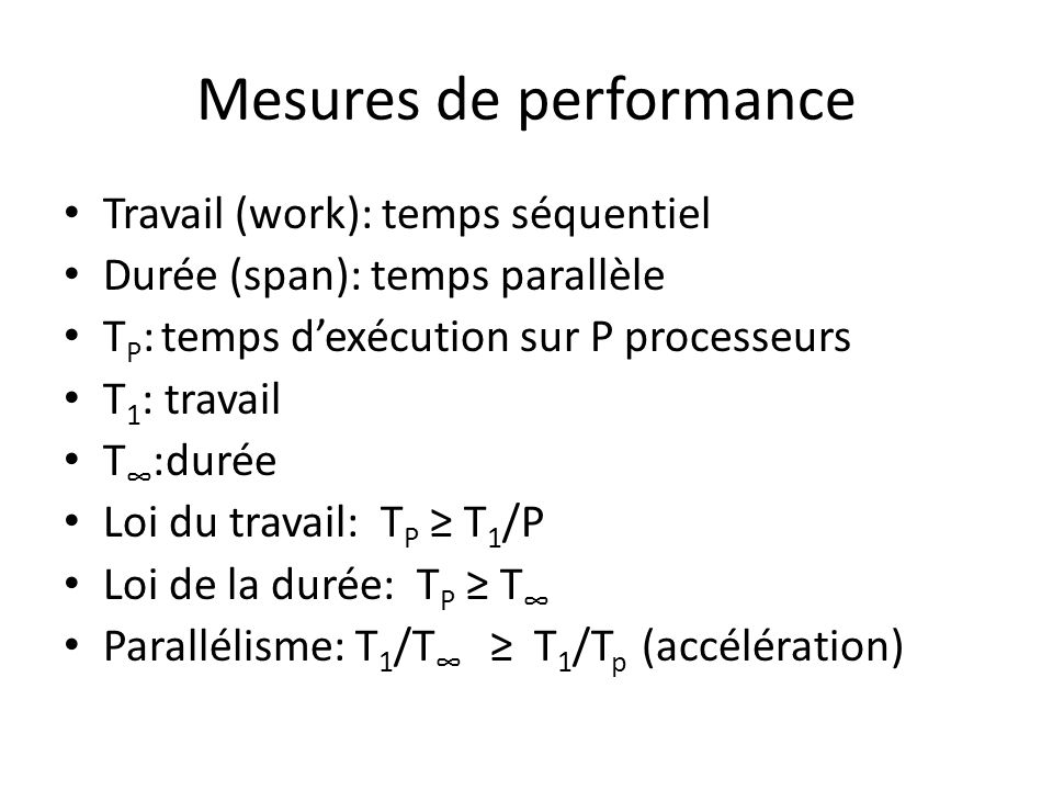 Mesures de performance