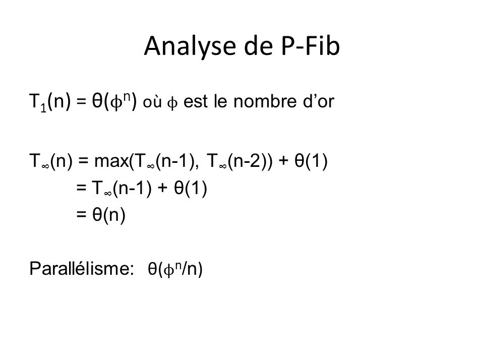Analyse de P-Fib T1(n) = θ(ϕn) où ϕ est le nombre d'or