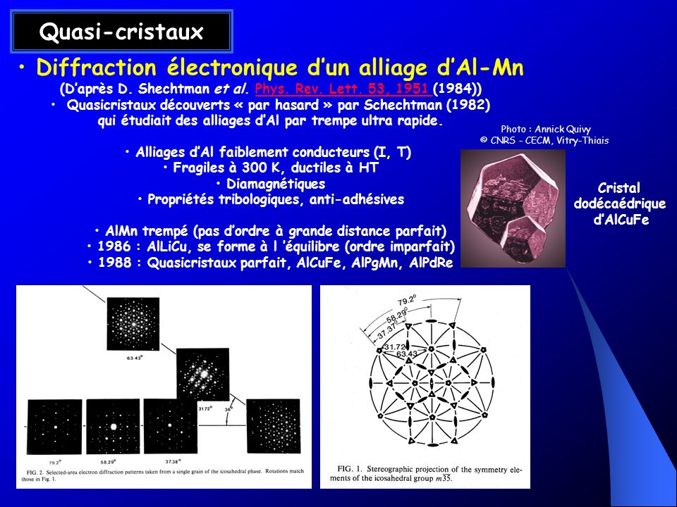 Quasi-cristaux Diffraction électronique d'un alliage d'Al-Mn