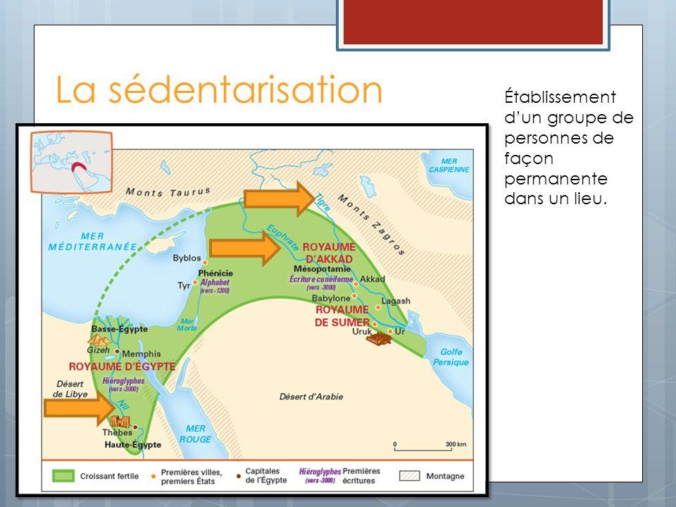 La sédentarisation Établissement d'un groupe de personnes de façon permanente dans un lieu.