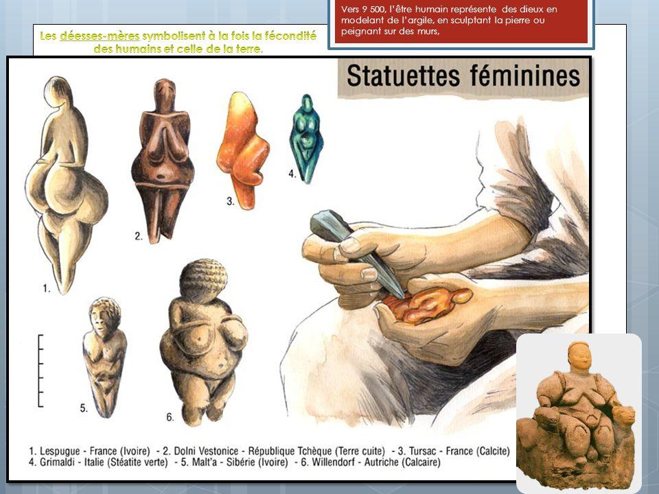Vers 9 500, l'être humain représente des dieux en modelant de l'argile, en sculptant la pierre ou peignant sur des murs,