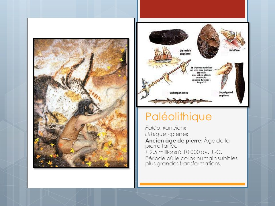 Paléolithique Paléo: «ancien» Lithique: «pierre»