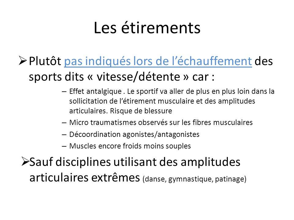 Les étirements Plutôt pas indiqués lors de l'échauffement des sports dits « vitesse/détente » car :