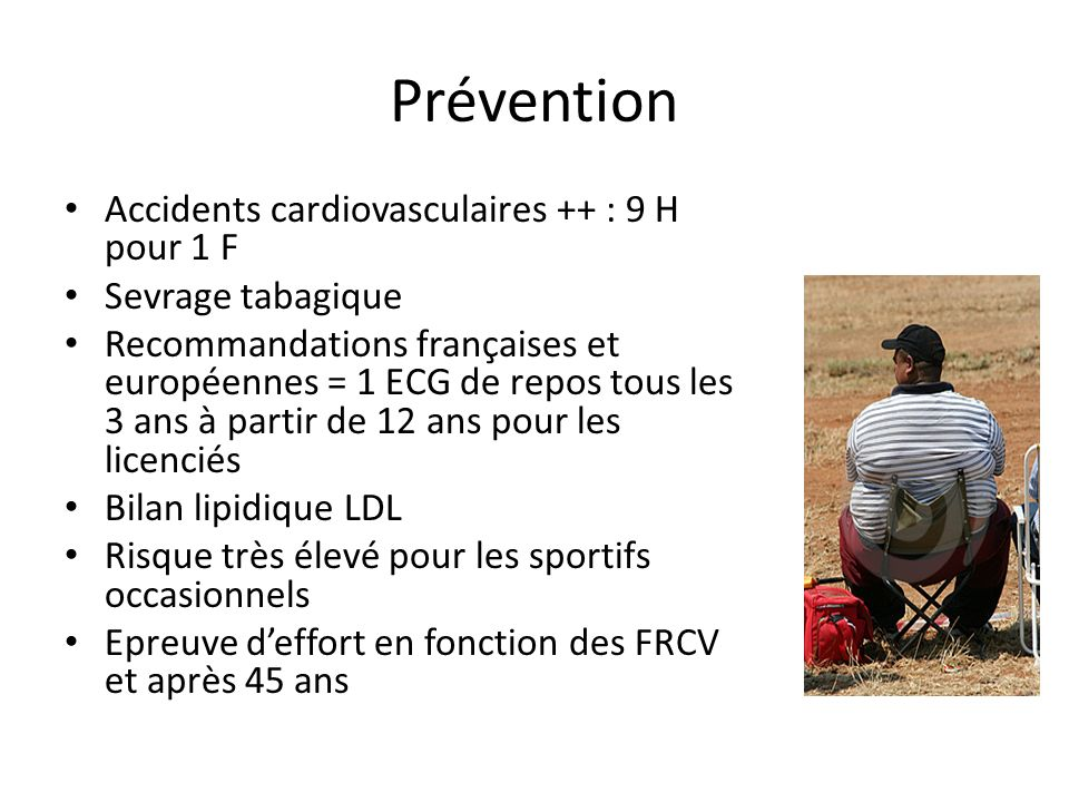 Prévention Accidents cardiovasculaires ++ : 9 H pour 1 F