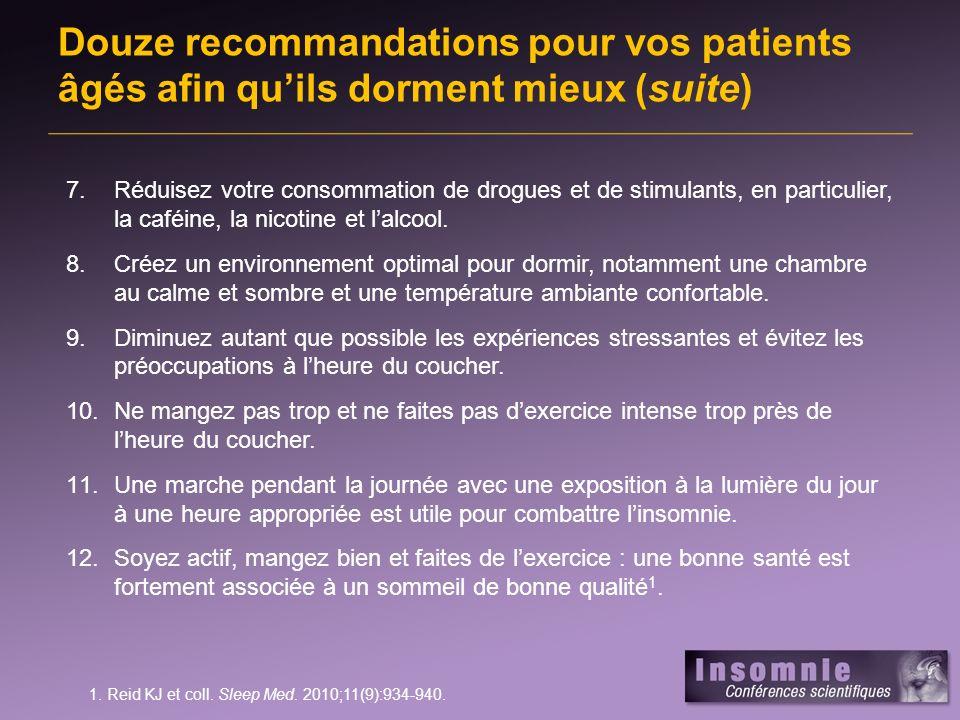 Douze recommandations pour vos patients âgés afin qu'ils dorment mieux (suite)