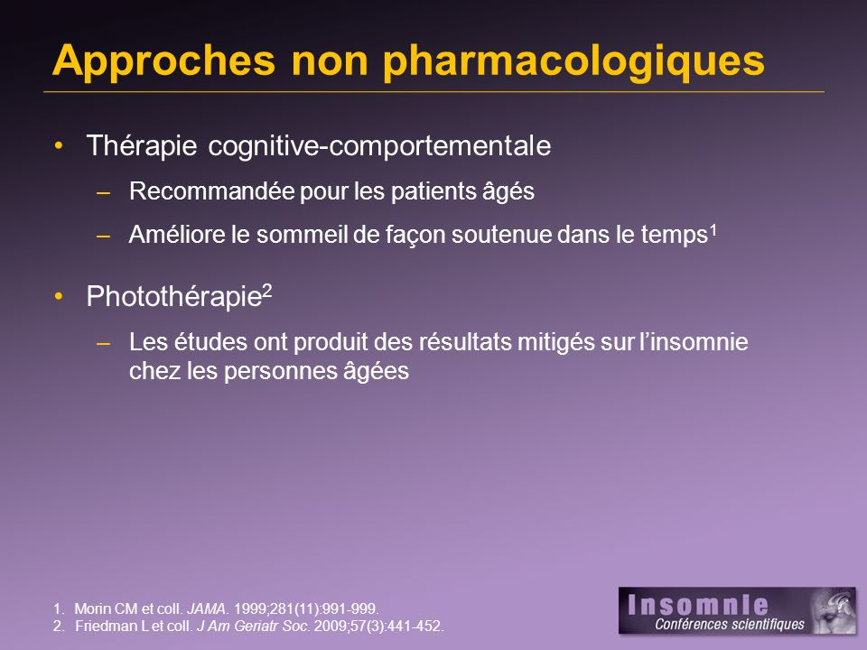 Approches non pharmacologiques