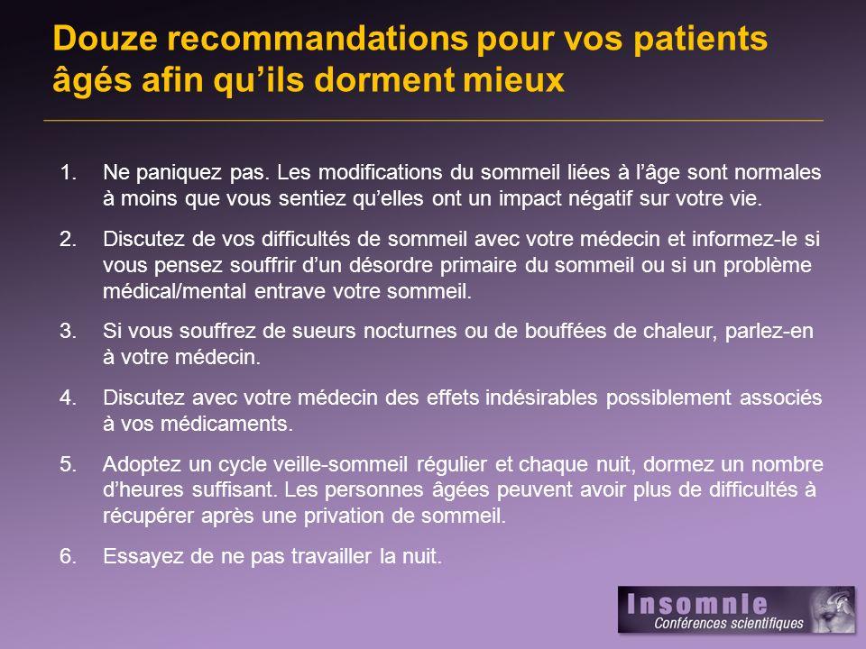 Douze recommandations pour vos patients âgés afin qu'ils dorment mieux