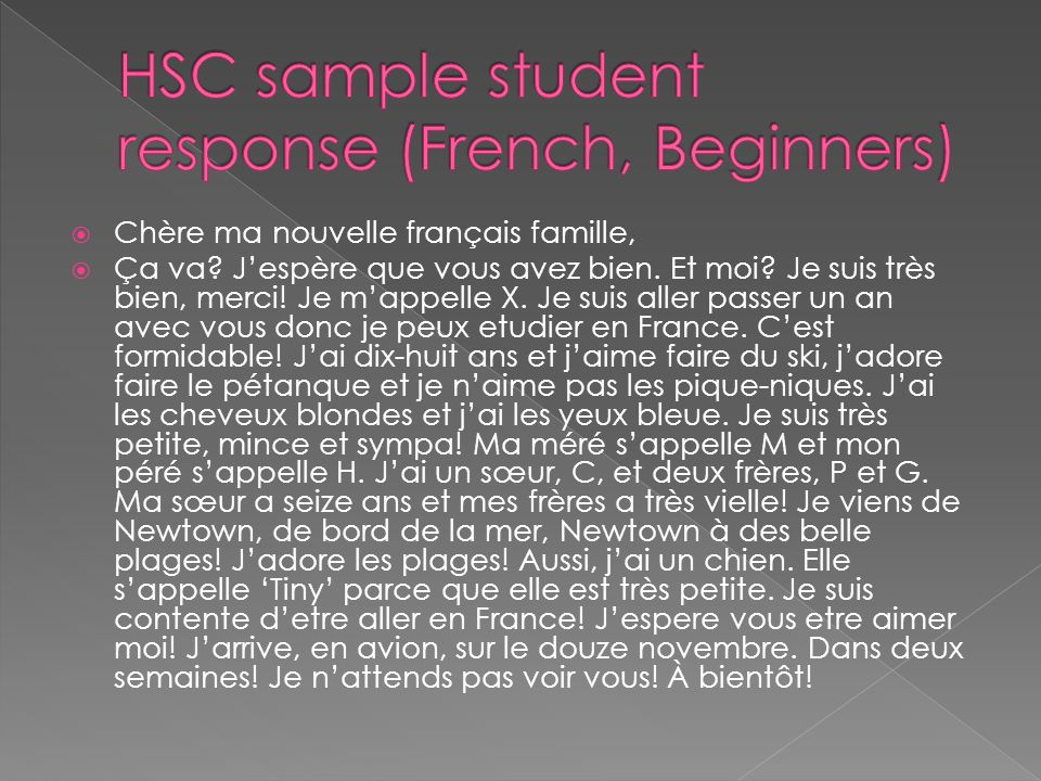HSC sample student response (French, Beginners)