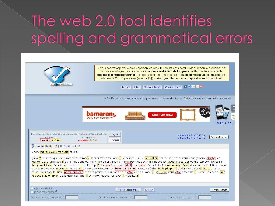 The web 2.0 tool identifies spelling and grammatical errors