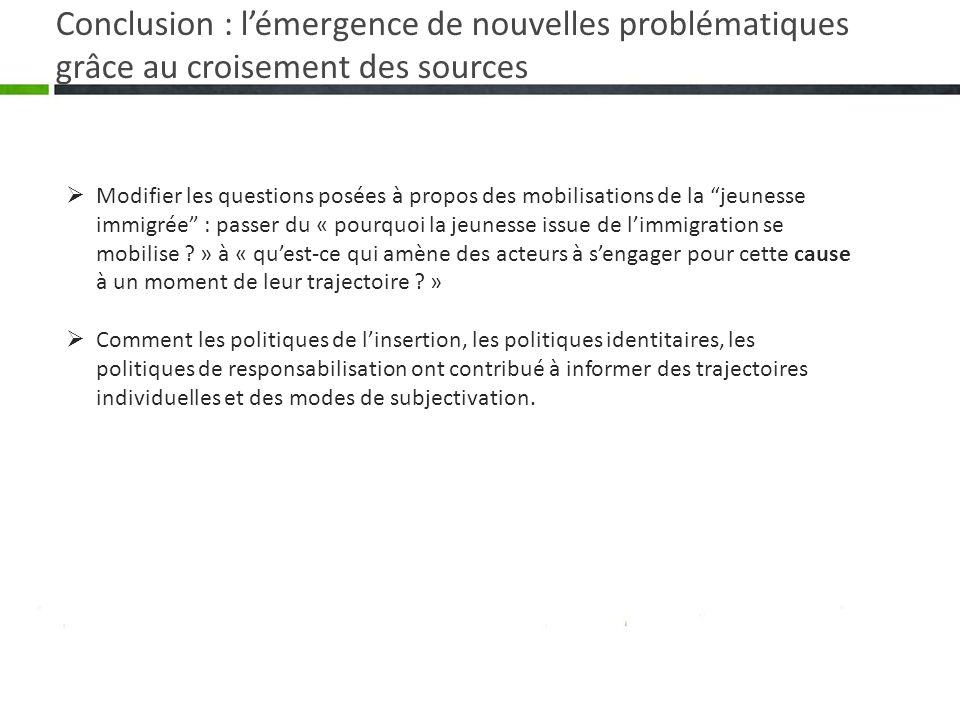 Conclusion : l'émergence de nouvelles problématiques grâce au croisement des sources