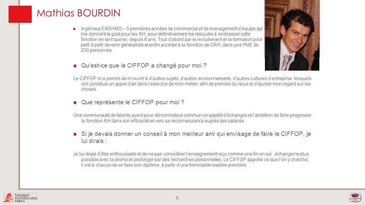 Mathias BOURDIN Photo Qu'est-ce que le CIFFOP a changé pour moi