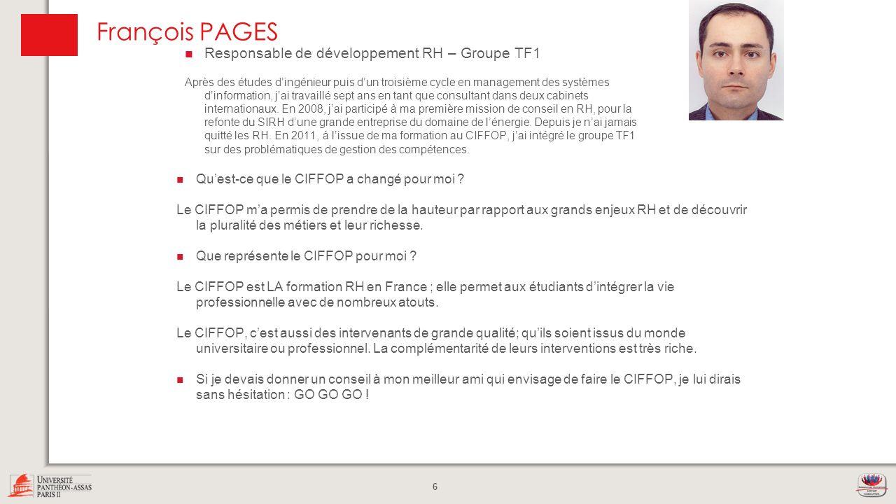 François PAGES Responsable de développement RH – Groupe TF1