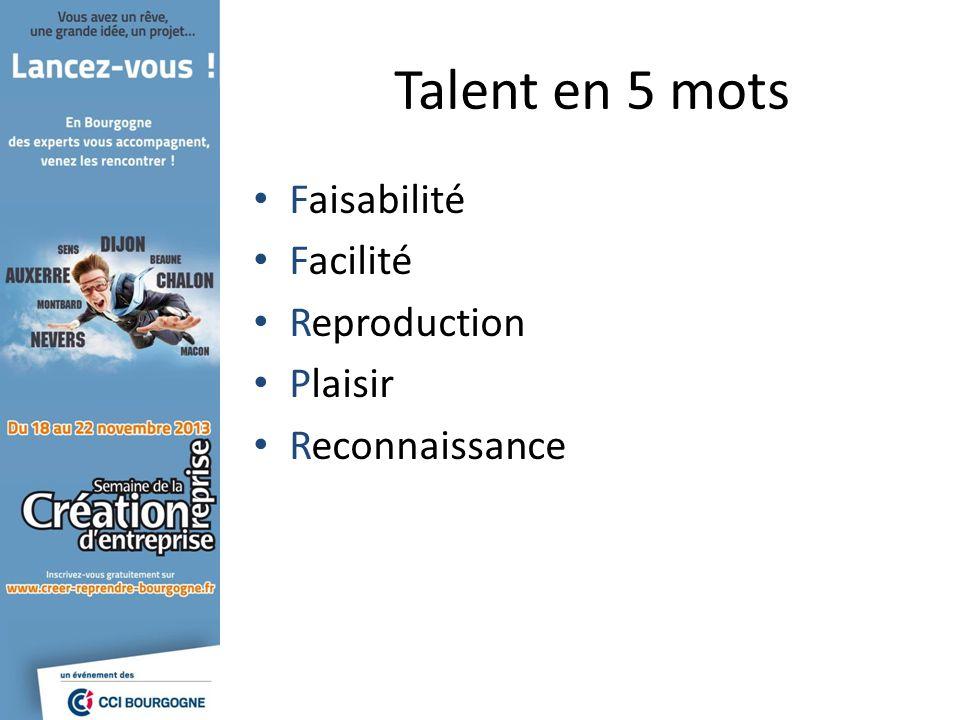 Talent en 5 mots Faisabilité Facilité Reproduction Plaisir