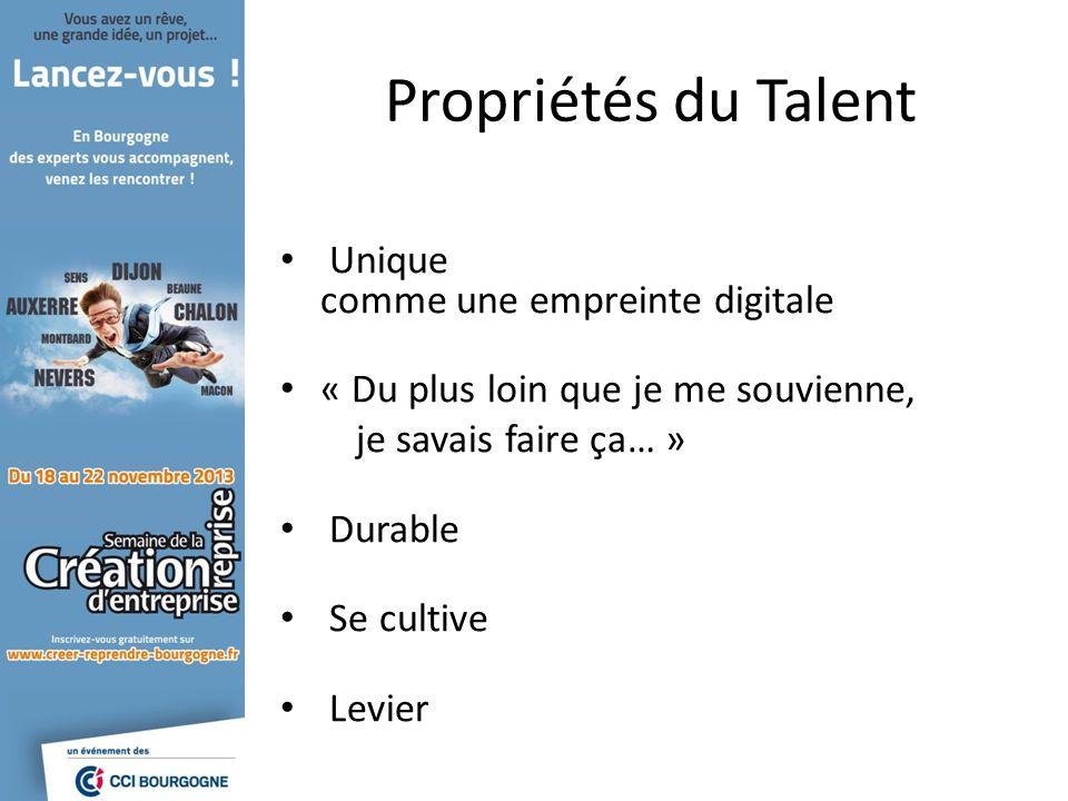 Propriétés du Talent Unique comme une empreinte digitale