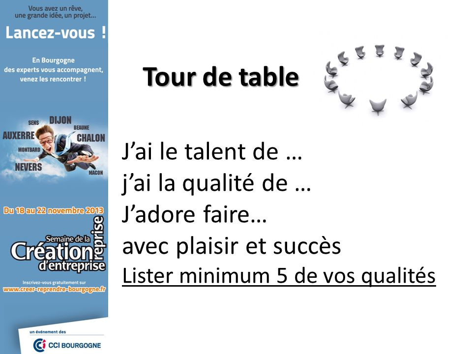 Tour de table J'ai le talent de … j'ai la qualité de … J'adore faire…