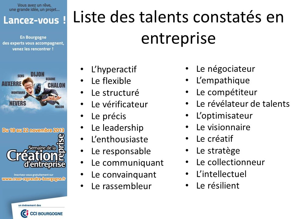 Liste des talents constatés en entreprise