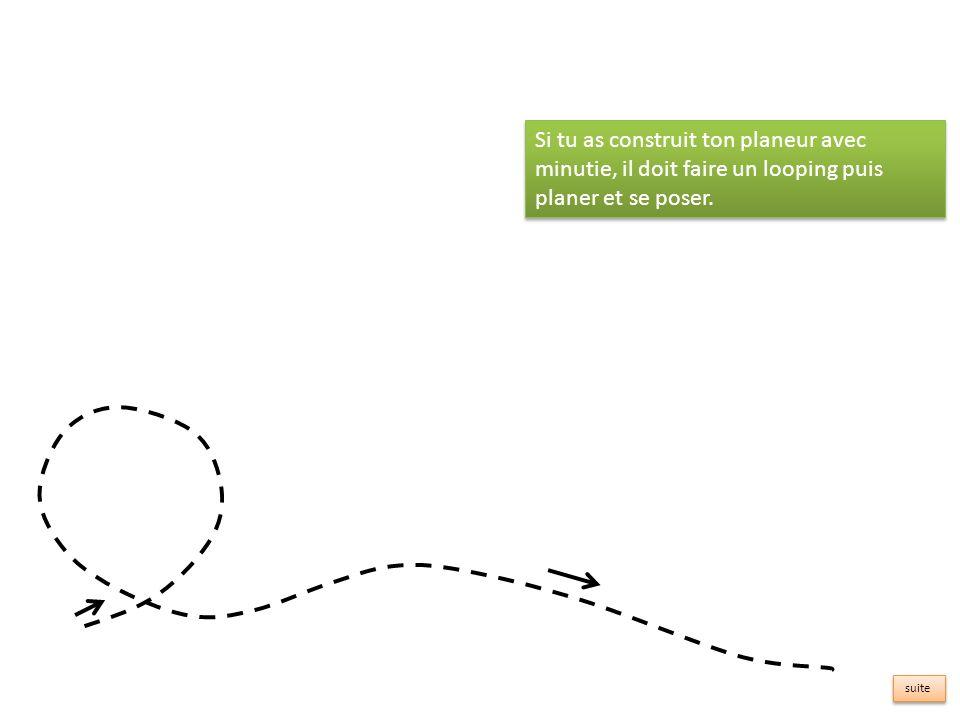 Si tu as construit ton planeur avec minutie, il doit faire un looping puis planer et se poser.