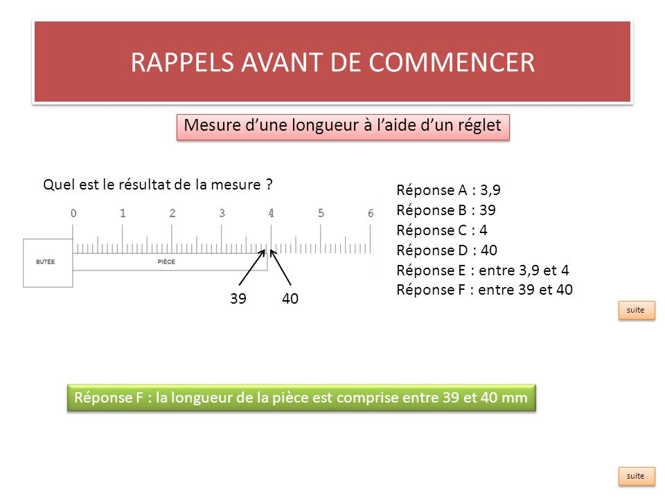 RAPPELS AVANT DE COMMENCER