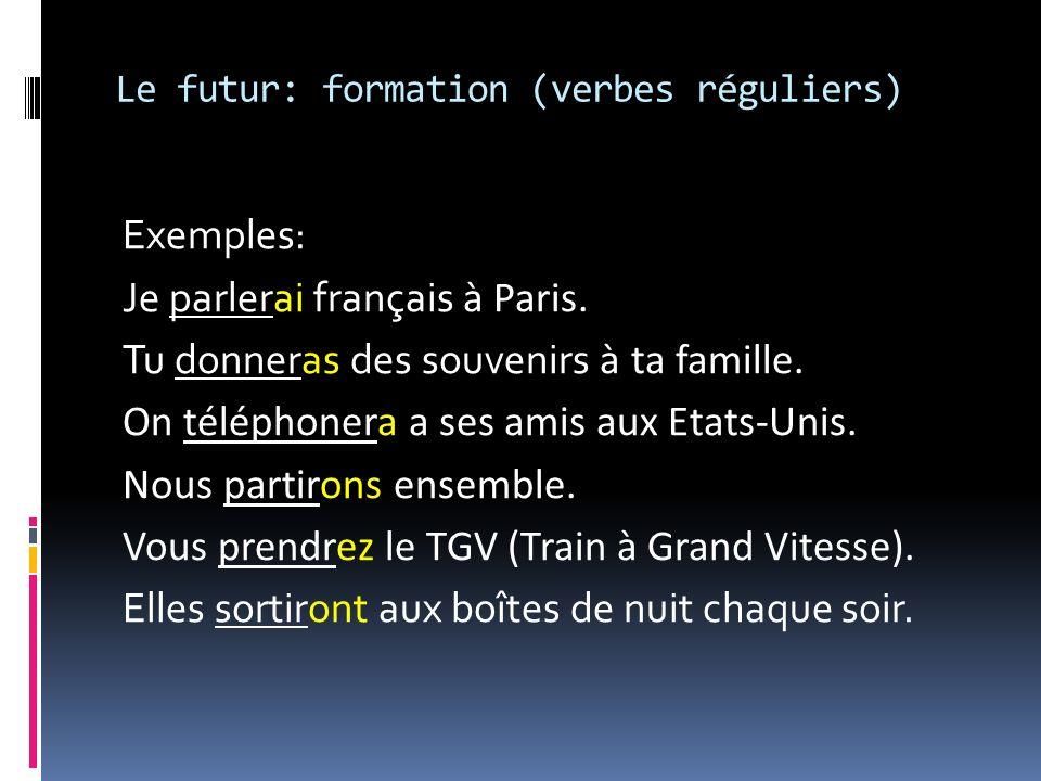 Le futur: formation (verbes réguliers)